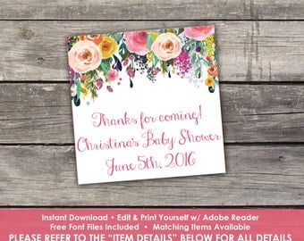 "Floral Thank You Tags - Edit Yourself - 2"" Thank You Tags for Baby Shower - Pink Floral Thank You Tags - Baby-111"