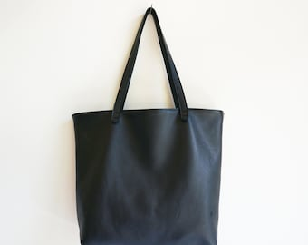 Soft Black Leather Tote