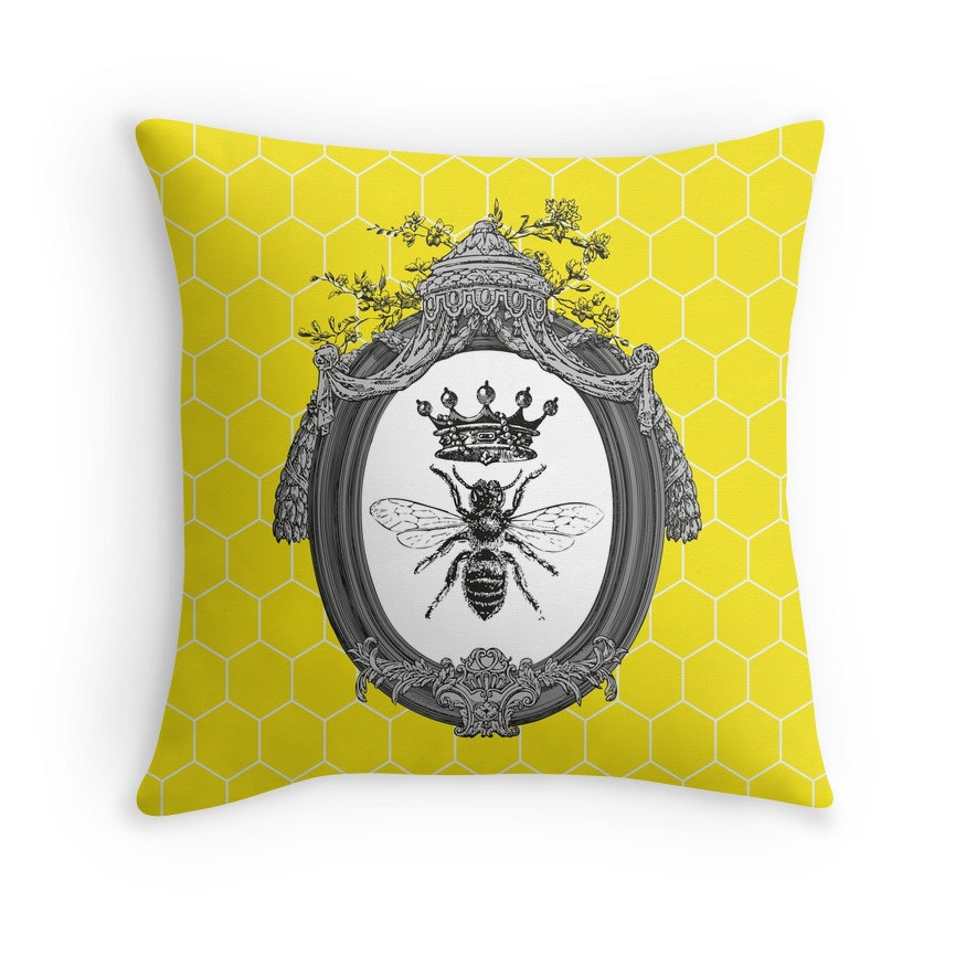 Queen Bee Throw Pillow: Cushion Honeybees Honey Bees