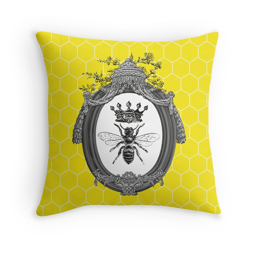 Queen Throw Pillow : Queen Bee Throw Pillow: Cushion Honeybees Honey Bees
