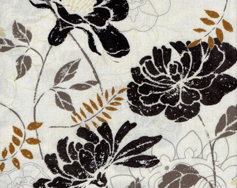 BROWN FLORAL FABRIC, brown and tan  Fat Quarter