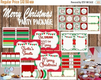 50% OFF Christmas Party Package, Instant Download, Printable Party Package, red and green, cupcake toppers, banner signs, sweet treats, DIY,