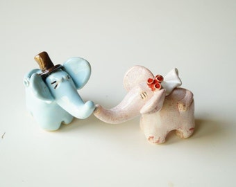 Cake Topper, Wedding Cake Topper, Elephant Couple Cake Topper by Her Moments