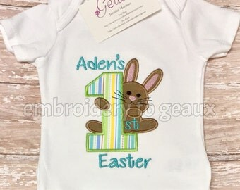 Personalized First Easter Baby Bodysuit--Baby's First Easter-Easter Bunny Shirt-Easter Shirt For Kids-Easter Bodysuit-Baby's First Easter
