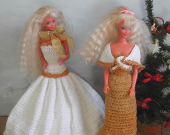 Crochet Fashion Doll Barbie  Pattern- #485 HOLIDAY GOWNS #4