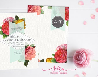 Bright Floral Modern Wedding Invitation, Customizable, Printable, Double Sided, 5x7