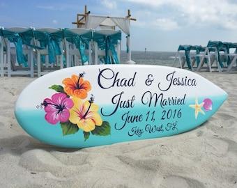 Beach Wedding Decor, Hibiscus Just Married Sign, Hawaiian Wedding, Surfboard Decor