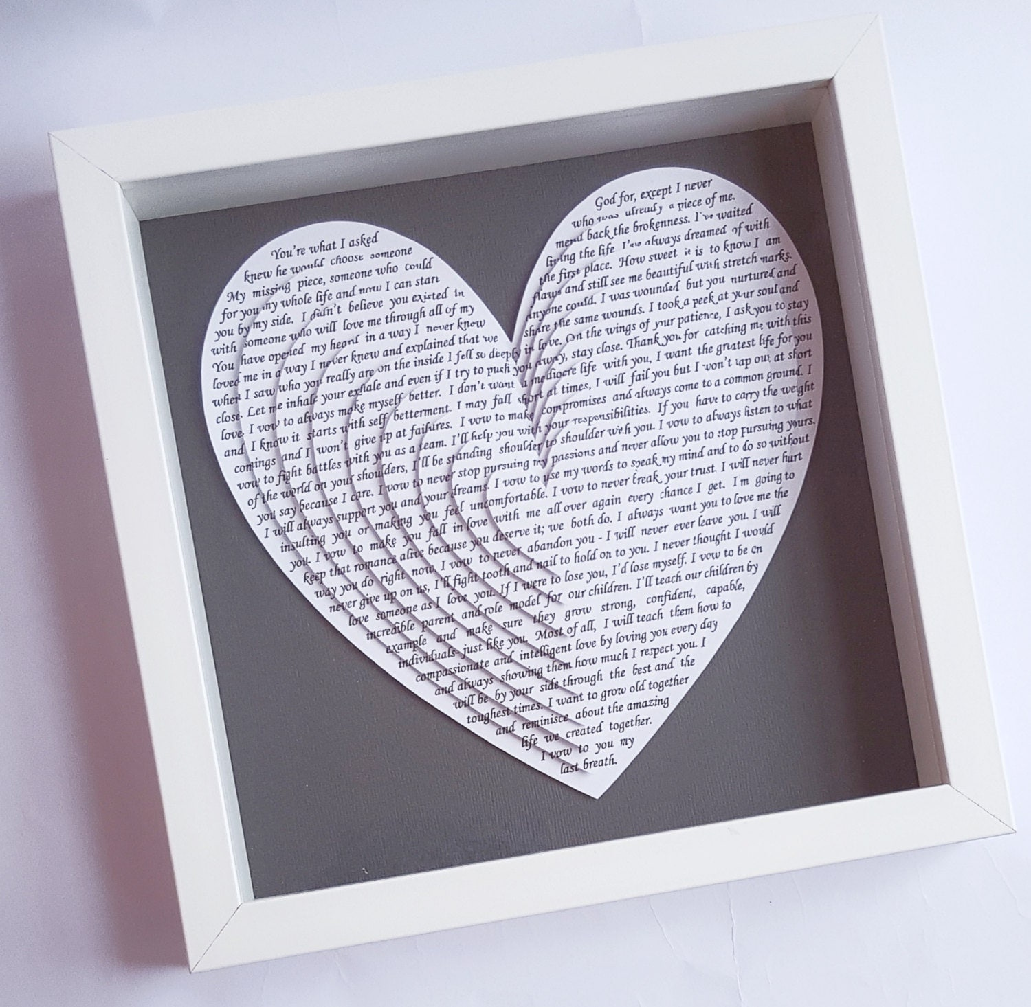 Song Lyric Gift Wedding Vows Anniversary Gift 3d Layered Heart