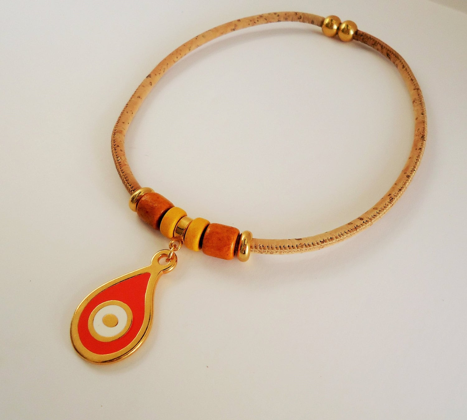 Cork Beads: Rope Necklace Natural Cork Necklace Εco Friendly Jewelry