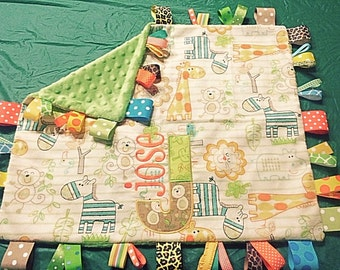 Personalized Baby Boy Blanket Jungle Themed