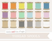 Thread Spool Clipart, Sewing Thread Clip Art String Twine Crafting Wooden Spool Sew Tag Cute Digital Graphic Design Small Commercial Use