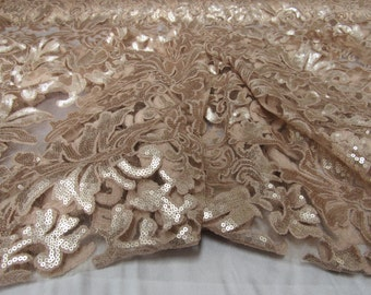 Angelic Bridal wedding sequin flower lace champagne. Sold by the yard.