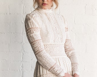 MAY - 1970's Vintage Lace Wedding Dress