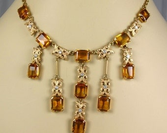 18K Yellow Gold Madeira Citrine Diamond Fringe Cascade Mid-Century Vint Necklace