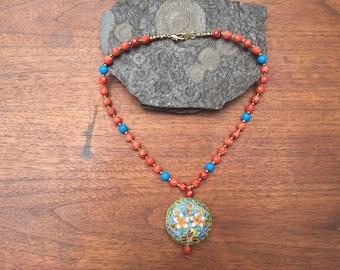 Cloisonné pendant necklace
