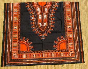 RaanPahMuang African Dashiki Black Cotton Fabric Suitable for 1 Shirt Design