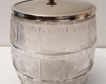 Vintage Molded Glass Art Deco Ice Bucket shaped like a Barrel