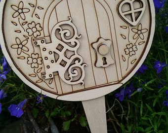 3 Gorgeous unique Potters Nook Fairy Doors with a stake