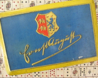 Vintage German Cigarette Tin Blue and Gold Metal Hinged Lid Constantin Hannover