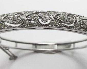 Superb Vintage 1960s Silver Toned Rhinestone Bangle Bracelet