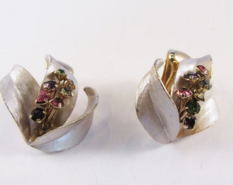 Beautiful Vintage 1950s Gold and Silver Toned Multi-Colored Rhinestone Floral Earrings