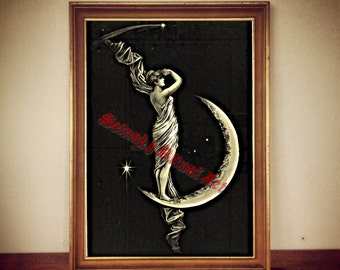 "201# ""The Universe"" by George Walker, magic print, mystic poster, magic illustration, gothic poster, moon print, moon art, woman art, fairy"