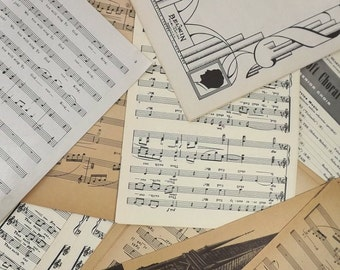 Full Sheet Music Pages, 50 Pieces Vintage Scrapbooking Craft Supply, Collage Art Crafting
