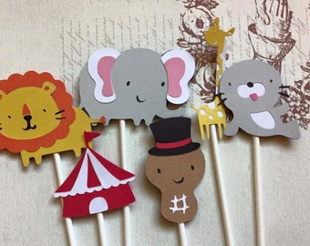 12 Detailed Day at the ZOO Cupcake toppers