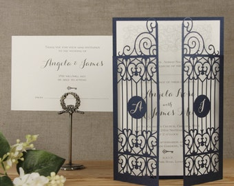 Ornamental Gate Laser Cut Wedding Set (Day Invitation & RSVP card) with complimentary fitted Envelopes
