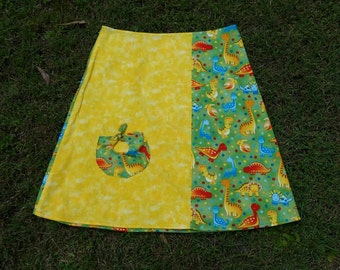 Size 8 Dino Delight A-Line Skirt