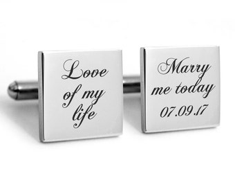 Wedding Cufflinks Stainless steel with engraved personalized date for lovers, custom, customized, dated, heirloom