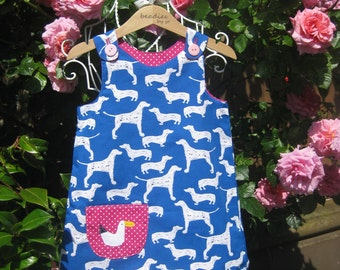 Reversible Dress, girls pinafore, polka dot, retro style, shift dress, 2 in 1, chintzy, funky, dog lover,   baby dress , festival,