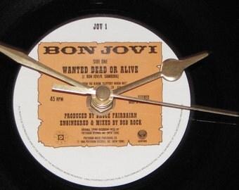 """Bon Jovi wanted dead or alive   7"""" vinyl record clock"""