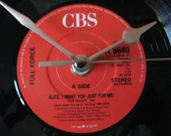 """Full Force alice i want you just for me  7"""" vinyl record clock"""