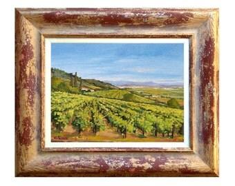 Framed Italian painting hills vineyard Tuscany panorama oil of Cristina Falcini Italy