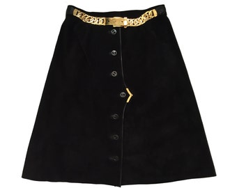 Vintage GUCCI Suede Leather A-Line Skirt BIG HARDWARE c. 1970's Exquisite! - Small