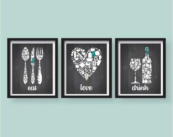 kitchen picture decor. Spring Sale Eat Drink Love Teal Dark Grey White Kitchen Decor  wall art decor Etsy