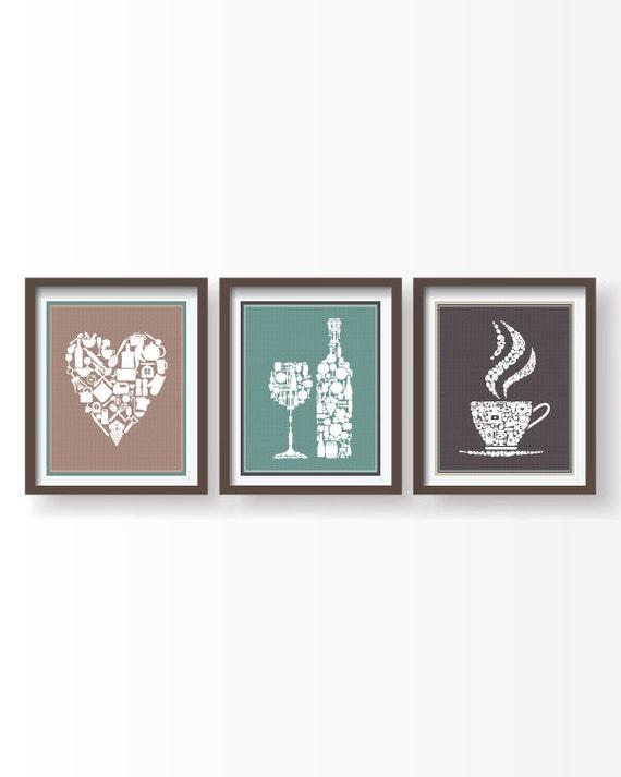 set of 3 kitchen prints kitchen decor kitchen by blackpelican