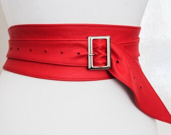 Red Leather Obi Silver Buckle Belt | ladies Red Belt | Corset Obi Belt | Leather Buckle Belt | Plus Size Belts