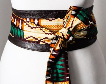 Dark Brown Leather Cream Green African Print Obi Belt l Leather Ankara Corset Belt | Ankara Wax Print Belt | Waist Belt| Corset Belt