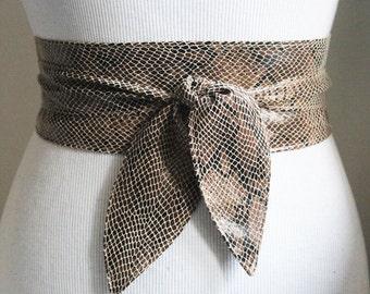 Snakeskin Leather Obi Tulip Tie Belt | Waist Sash Belt | Leather tie belt | Corset Leather Belt| Plus Size Belt