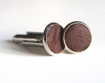 Distressed Brown Leather cufflinks | Wedding Cuff links Groom | Gift for men l Groomsmen cufflinks | Christmas gift