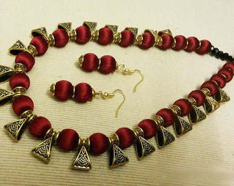 Maroon Silk Thread Jewelry Set Necklace and Earrings Set Silk Thread with hanging Metal Bails Handmade Indian Jewellery Maroon