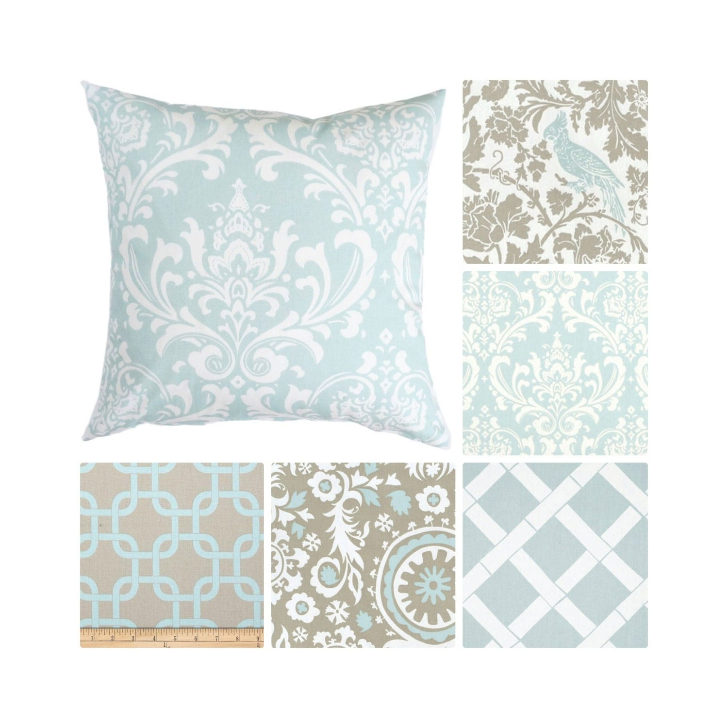 Powder Blue Decorative Pillows : Powder Blue Pillow Covers.Taupe Accent Pillows.Light Blue