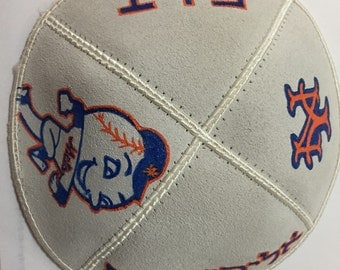 Custom made hand painted Suede Kippah - Sport Designs