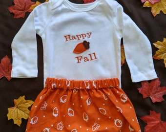 CLEARANCE! Ready to ship! First Thanksgiving Fall Autumn Orange Acorn Bodysuit and Skirt Outfit for Baby or Toddler Girl