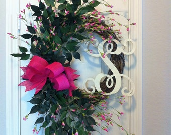 Grapevine Wreath with Hot Pink Flowers & Burlap Bow ~ Monogram Option, Everyday, Summer, Spring, Housewarming Wreath
