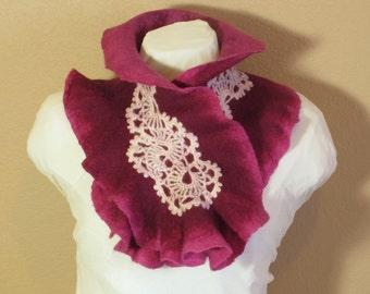 Felted Wool Neck Warmer, Ruffle Neck Warmer, Pink Purple Wool Scarf