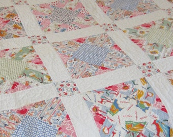 Exceptionally Beautiful Multicolored Feedsack Quilt 74X62