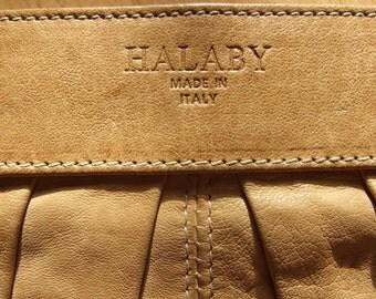 Vintage genuine leather beige color handbag purse Halaby made in Italy